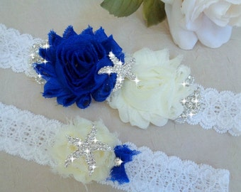 Royal Blue Wedding Garter Set, Beach Weddig Garter, Bridal Garter, Ivory Garter, Vintage Inspired Garter Set