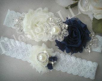 Navy Blue Garter Set / Wedding Garter Set, Rhinestone garter,Vintage Inspired Garter Set,Something Blue