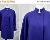 FINAL SALE 80s Ladies | Vintage COBALT Blue Short Wool Coat by L.C. Mae | Sassy 1980s | Womens M  | 32-36 Bust | Fall Fashion | Made in Usa