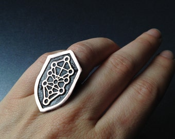 Shield Ring - Tree of Life - Etched Copper- handmade from copper in my studio - by Jamie Spinello - handmade in Austin, Tx