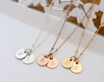 """Two 3/8"""" Discs Initial Necklace, Silver Initial Necklace, Gold Filled Initial Necklace, Gold Personalized Necklace, Satellite Chain Necklace"""