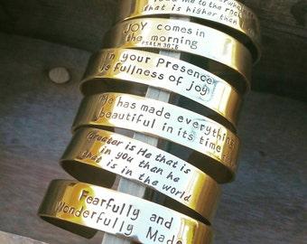 Brass Stamped Cuff Bracelet (Wide Width)