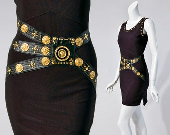80s Caché black body con mini dress with leather and gold hardware | extra small
