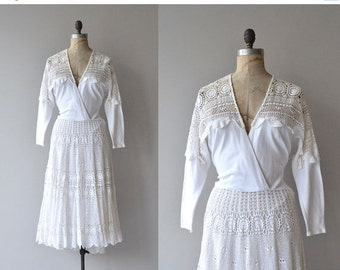 25% OFF.... Santorini dress | vintage 1980s crochet dress | white crochet 80s dress