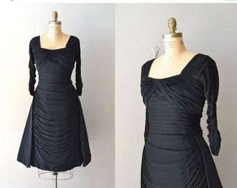 25% OFF SALE Cache Cache dress | vintage 1950s dress • black rayon 50s dress