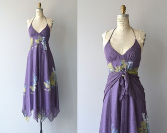 Arjon halter dress and shawl | vintage 1970s dress | floral print 70s maxi dress