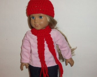 Red Hat Scarf, 18 inch Doll, Hand Crochet, Accessories, 15 Inch Baby Doll, American Made, Girl Doll Clothes