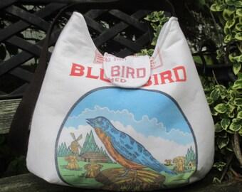Purse Made From A Feed Sack , Medium Shoulder Bag ,  Bag With Birds  , Shoulder Bag With Pocket