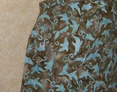 Dolphins chef apron patch pocket batik print cotton blue whimsical fish with brown background sharks at play x tall tall size DIY apron