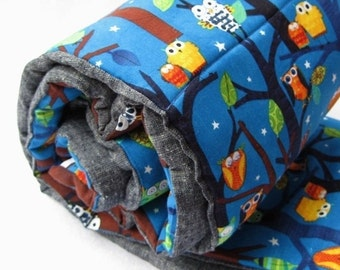 SALE Sleepy Owls NAP MAT - Toddler Eco friendly Preschool Sleeping Pad Napmat - Woodland Forest Trees with Organic Denim