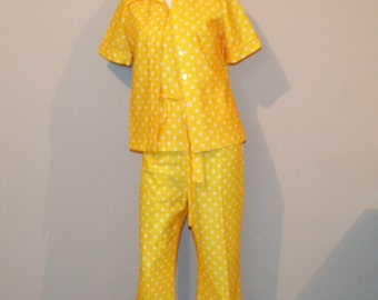 Vintage Day Suit 1970's Yellow Polka Dot Four Pieces