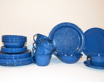 Vintage Blue Speckled Enamelware Eight Piece Place Settings....Total 40 Pieces