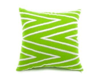 Chevron Pillow Cover, Gray Silver Chevron Green Linen Pillow, Embroidered Pillow Case, Cushion Cover, Modern Home Decor, Contemporary Pillow