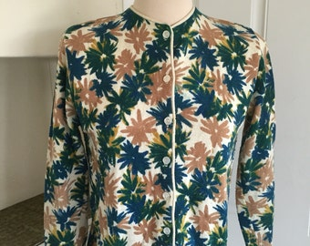 Daisy Chain Scholar - Early 60's Daisy Printed Wool Cardigan
