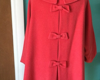 Think Pink - 1950's Hot Pink Wool Swing Coat with BOWS