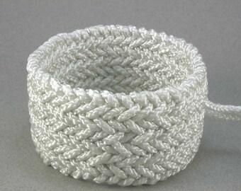 triple herringbone rope bracelet extra wide woven cuff slip on knotted bracelet 1459