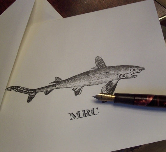 Shark Personalized Notecards, Monogrammed Shark Note Cards Vintage Inspired Deep Sea FIshing Stationery Men's Ocean Sea Beach Jaws Fish Gift