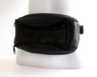 Vintage Black Leather Fanny Pack Hip Sack Bum Bag