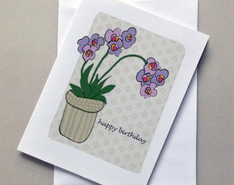 Birthday Orchid Card, Birthday Card, Orchid, Flower, Sale, Wholesale