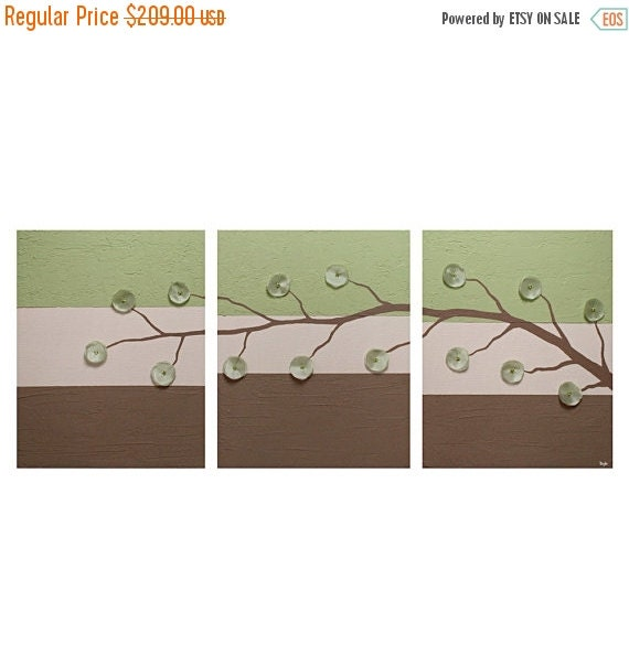 ON SALE Abstract Flower Art Painting Triptych - Green and Brown Textured Canvas - Large 50x20