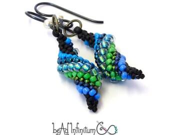 Slugs in Love Beaded Earrings Blue Green Black