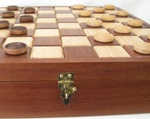 Checker Board Box Plus Checkers in Hickory and Mahogany Woods Checker Board Chess Board Chess Board Box Hand Crafted Checker or Chess Board
