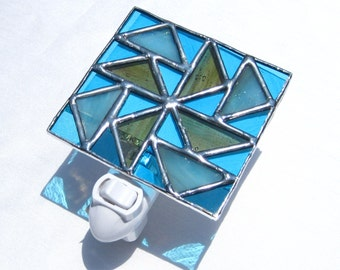 Dutch Windmill Night Light Stained Glass Night Light Blue Night Light Stained Glass Lamp Glass Night Light Geometric Night Light Blue Light