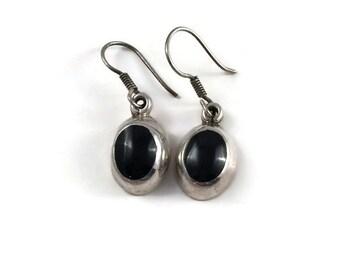 Sterling Silver Black Onyx Pierced Dangle Earrings