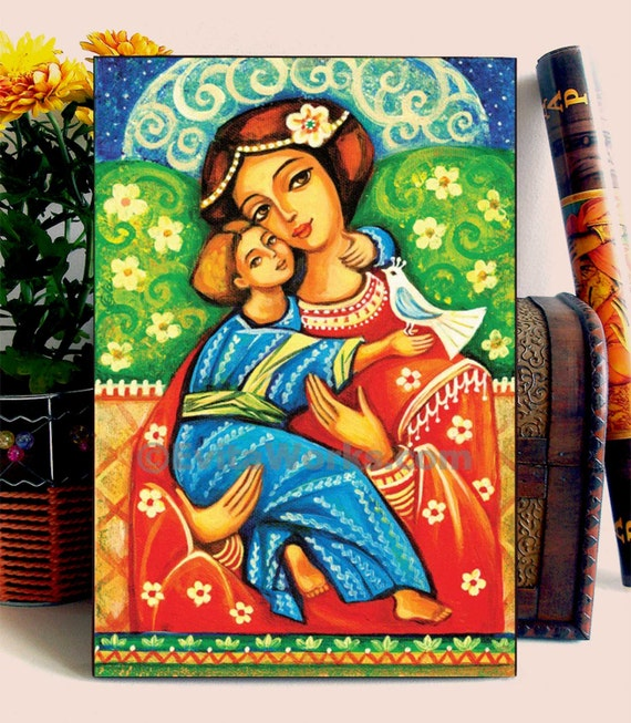 Mother and child painting, folk art icon, Mary and Jesus, motherhood art, home decor wall decor woman art on wood, 6.7x10