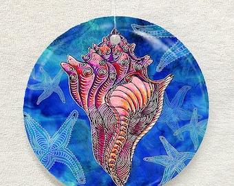 Conch Shell Glass Ornament & Suncatcher, Seashell Ornaments