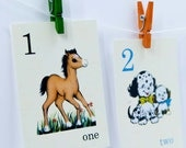 Count from 1-10 Vintage Style Flash Cards - Choose a small size