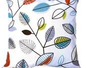 Leaves Pillow COVER - Carson Fiesta Leaf Covington, Orange Green Blue on White  16x16, 18x18, 20x20