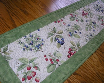 Quilted Table Runner, Berry Print with Green,  12 1/2 x 39 inches