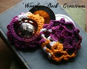 "Zill Mufflers 3"", Cotton, Practice, Belly Dance, Large, Purple, White, Orange - Batik - Ready To Ship"