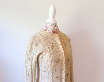 vintage 1950's sweater // cream 50's cardigan // pink blue green rosebud embroidery