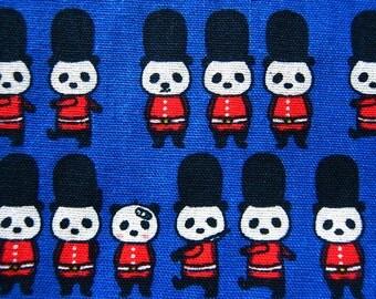 Animal Print Fabric By The Yard - Panda March on Blue - Cotton Fabric - Half Yard