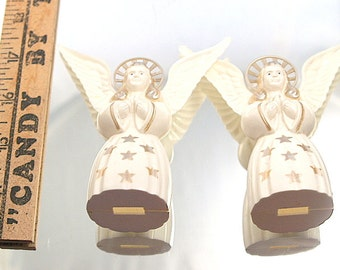 Two Vintage Angel  Decorations Ornaments Retro Plastic Tree Topper Angels Christmas Crafts
