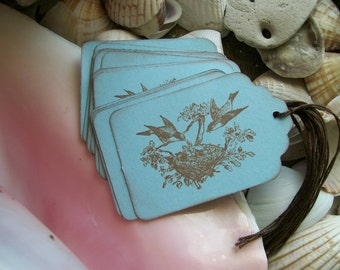 Tags-Bird-Nature-Shabby-Cottage Style-Light Blue and Brown