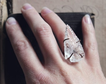 Isaz. Rustic Wild Earthy Boho Chic Crystal Quartz Arrowhead and Copper Statement Ring.