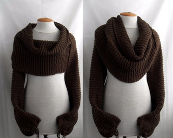 Bolero Scarf Shawl with sleeves at both ends in dark brown. FREE worldwide shipping