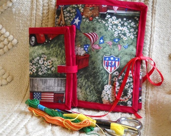 Americana Sewing Caddy, Needle Book, Hand Sewing Organizers
