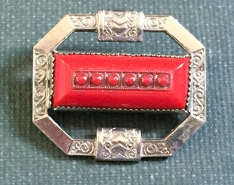 1920s Brooch Silver Tone Red Art Deco Antique C clasp