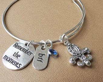 Fleur de Lis Bangle,,BFF Gift, Friendship Bracelet,Thoughtful Gift, Adjustable Bangle Bracelet,Silver Bangle, Charm Bangle,Birthstone Bangle