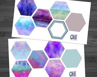 Dreamy Purple Watercolors Large Hexagons