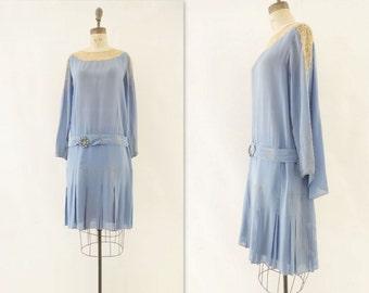 Vintage 20s Dress 1920s Flapper Dress Blue Silk Dress Drop Waist 20s Dress 1920s Silk Dress Light Blue Gray Silk Silk Lace Dress s
