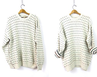 White Cotton Mix Sweater Oversized Textured Knit Sweater Dotted Sweater Preppy Minimal Basic Jumper Sweater Top Size XL Extra Large