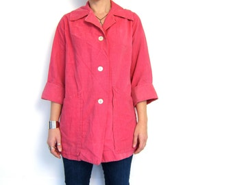 Pink Corduroy Jacket 50s Button Up Coat Slouchy Ribbed Oversized Hipster Boho Light Weight Shirt Jacket Louannes Vintage Small Medium