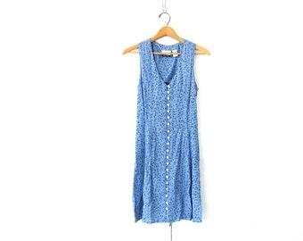 90s Floral Sundress Boho Grunge Mini Sun Dress Revival Blue Button Front Corset Back Prep 1990s Flirty Womens Rayon Minidress Size Small 6