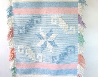 Mexican Wall Hanging Large Vintage Pastel Southwestern RUG tapestry. Woven blue, white & pink loomed blanket hanging.