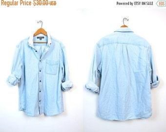 Washed Out Faded Denim Shirt Button Up Boyfriend Jean Shirt Chambray Minimal Boho Tomboy Slouchy Unisex Coed Vintage Mens Medium